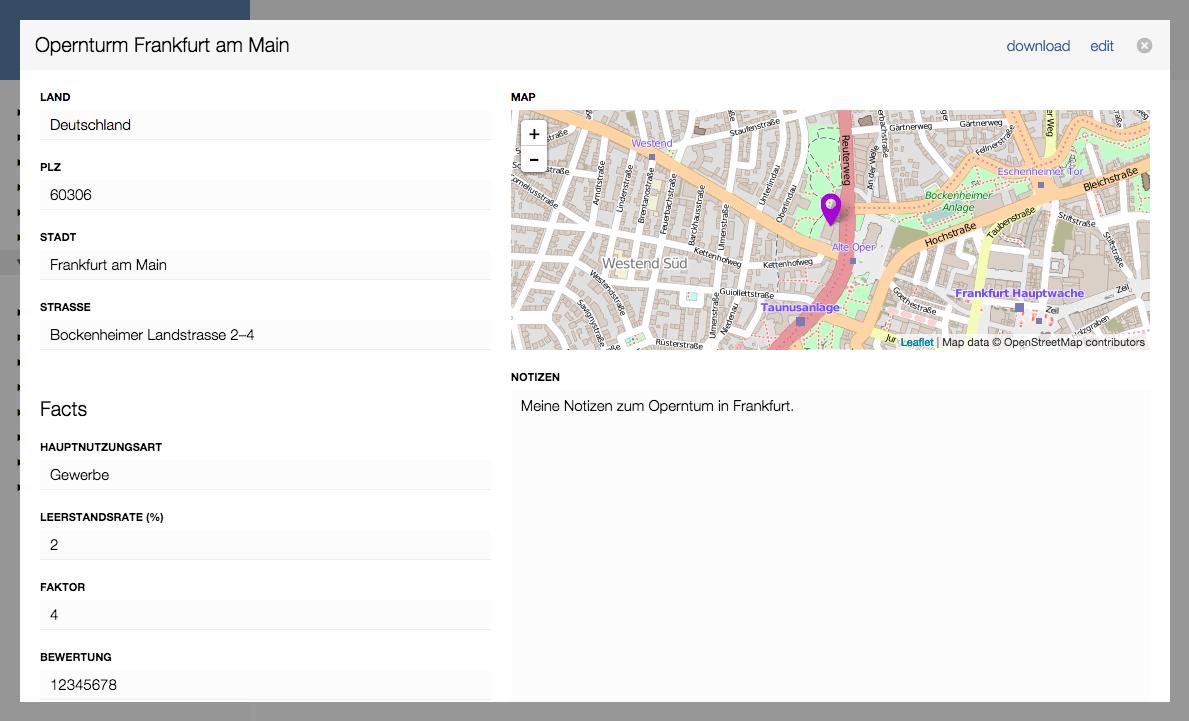 Formular mit Location Feld